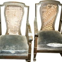Two Victorian Cane Chairs - Before