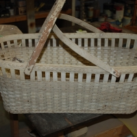 Vintage Wicker Bassinet - Before